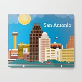 San Antonio, Texas - Skyline Illustration by Loose Petals Metal Print