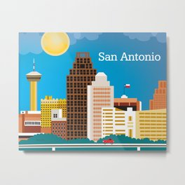 San Antonio, Texas - Skyline Illustration by Loose Petals Metal Print