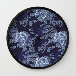 Japanese Peony Floral - Navy Wall Clock