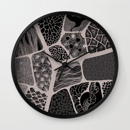 patchwork with black and white patterns Wall Clock