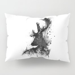 Deer Head Watercolor Silhouette - Black and White Pillow Sham