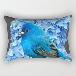 BLUE BIRD & BLUE HYDRANGEAS GREY ART Rectangular Pillow