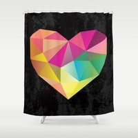 low poly Shower Curtains featuring Low Poly Heart by Ariseli Modica