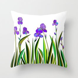 Large Purple Irises Throw Pillow