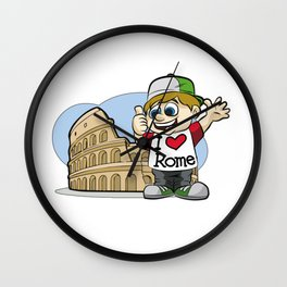 I LOVE ROME Italy Italian Tourist Vacation Present Wall Clock