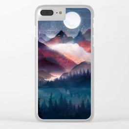 Mountain Lake Under the Stars Clear iPhone Case