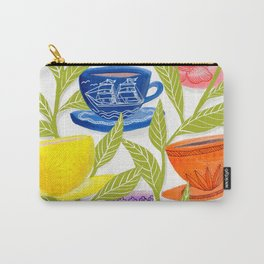 Tea Cups, Patterns, and Leaves Carry-All Pouch