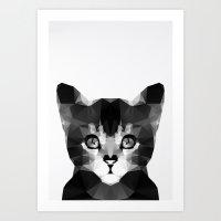 Black Geo Cat Art Print