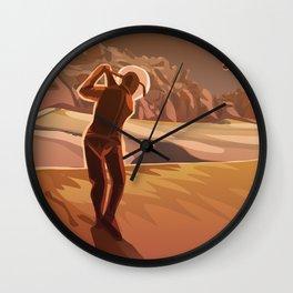 Golfing on Mars Wall Clock
