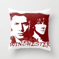 winchester Throw Pillows featuring Team Winchester by Panda Cool