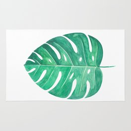 Monstera Leaf #2 | Watercolor Painting Rug