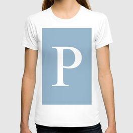 Letter P sign on placid blue background T-shirt