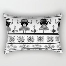 folk embroidery, black on white background. Collection of flowers, birds, peacocks, horse Rectangular Pillow
