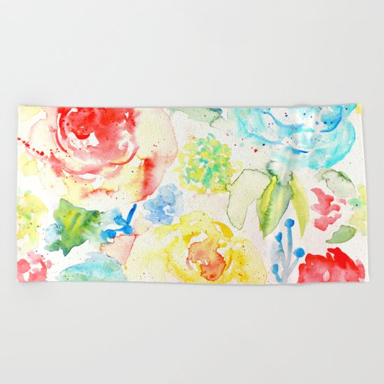 Abstract Flowers 06 Beach Towel