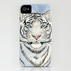 White Tiger in blue A024 Slim Case iPhone (4, 4s)