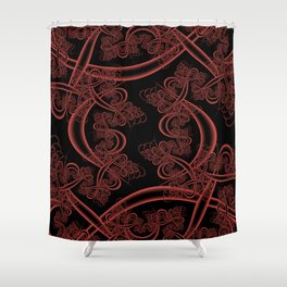 Grenadine on Black Fractal Shower Curtain