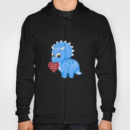 Cute Blue Baby Triceratops Red Love Mommy Heart Hoody