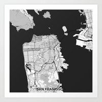 san francisco map Art Prints featuring San Francisco Map Gray by City Art Posters