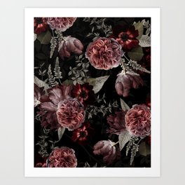 Dutch Vintage Midnight Roses Bouquets Pattern Art Print