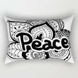 Peace lotus Motto saying mandala floral pattern Rectangular Pillow