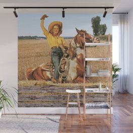 Vintage Western Cowgirl On Horse In Hay Field Wall Mural