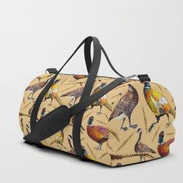 Vintage brown orange colorful pheasant birds pattern Duffle Bag