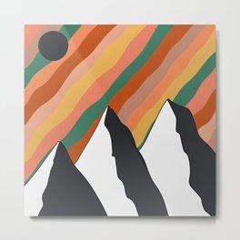 Retro Mountain Metal Print