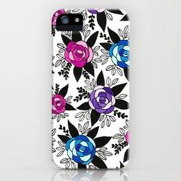 Black Rose Watercolor iPhone Case