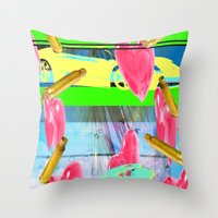 vendetta Throw Pillows featuring vacation vendetta by astral eyes