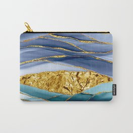 Blue And Teal And Gold Mermaid Glamour Marble Landscape  Carry-All Pouch
