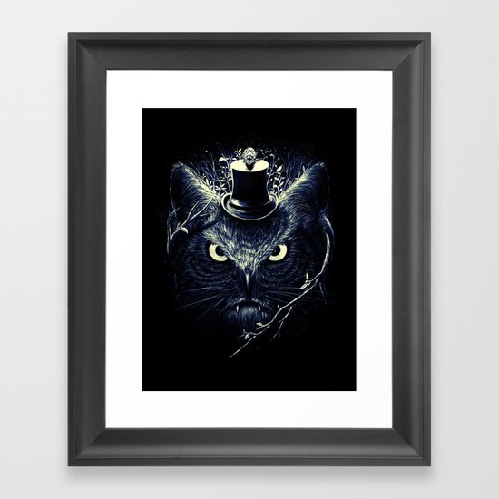 Meowl (Blue) Framed Art Print