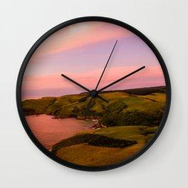 jacks bay new zealand beautiful colors at sunset farmland Wall Clock