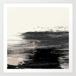 Artistic ivory black gold glitter paint brushstrokes Art Print