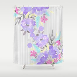 Watercolor violet pink gray stripes floral Shower Curtain