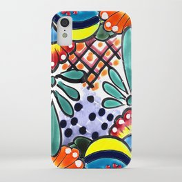 Colorful Talavera, Yellow Accent, Large, Mexican Tile Design iPhone Case