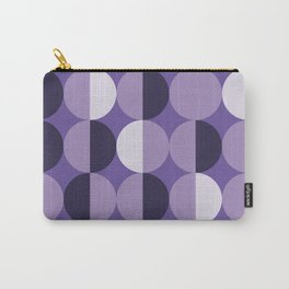 Retro circles grid purple Carry-All Pouch