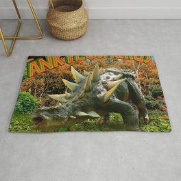 Ankylosaurus Dinosaur Park Vegetation and  Volcano Rug