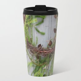 Rustic wreath on gray door Travel Mug