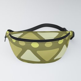 Mid Century Modern Triangles Dots Olive Green Fanny Pack