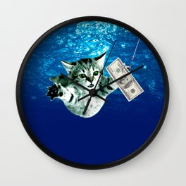 Cat Nevermind Album Cover under Water Baby Wall Clock