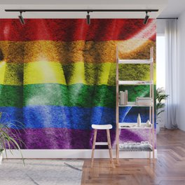 Gay Pride Grungy and Distressed Flag Wall Mural