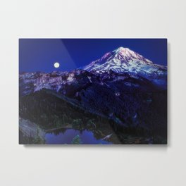 Mt Rainier Sunset and Full Moon 2017 Metal Print