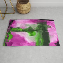 Abstract Window Purple and Green Rug