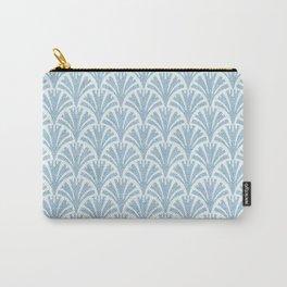 Faux Velvet Fan Pattern In Blue on White Carry-All Pouch