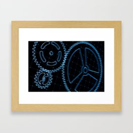 Set of blue gears and cogs on virtual screen Framed Art Print