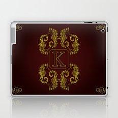 letter K seahorse monogram Laptop & iPad Skin