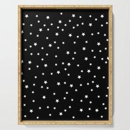 little white stars, night, night sky, romantic Serving Tray