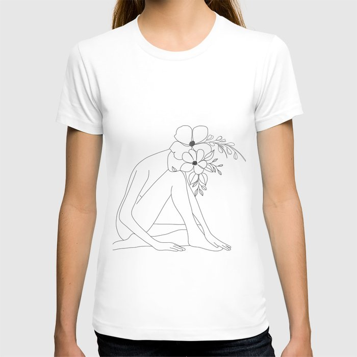 Minimal Line Art Nude Woman with Flowers T-shirt