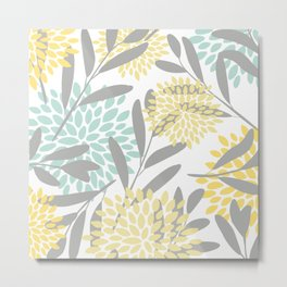 Floral Prints, Leaves and Blooms, Gray, Yellow and Aqua Metal Print