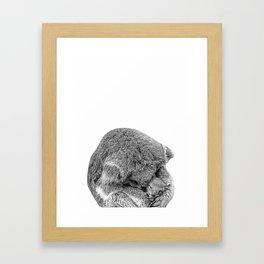koala holding little koala b&w Framed Art Print